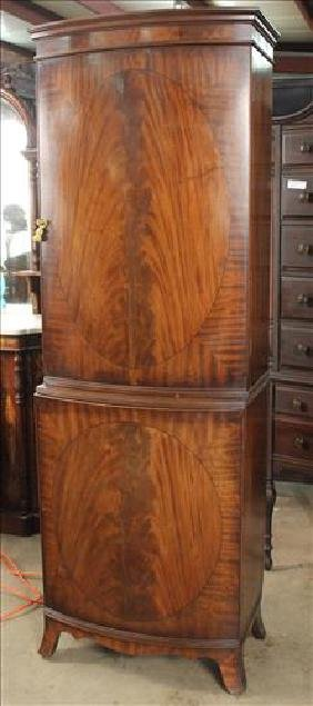 Sheraton style linen cabinet with inlaid  doors