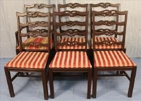 Set of 6 mahogany ladder back dining chairs