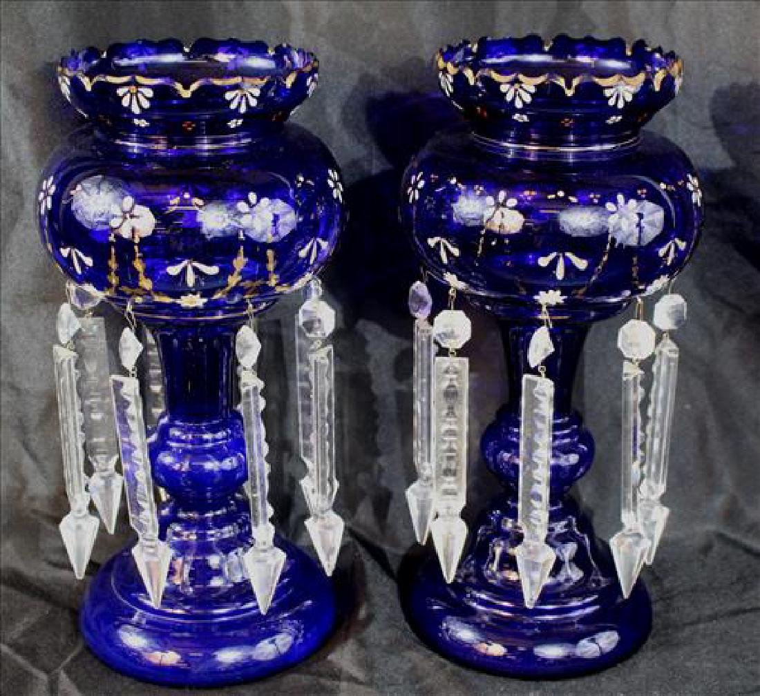 Matched pair cobalt blue mantle lusters