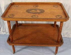 Inlaid decorated mahogany tea cart