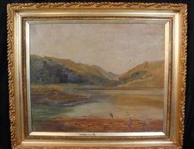 Oil  on canvas of lake scene in Victorian frame