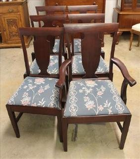 Set of 6 mahogany straight leg Chippendale  chairs