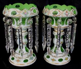 Pair white cut to green lusters, hand painted flowers