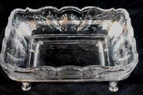Cut glass bowl in original silver-plate stand