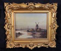 Small oil on canvas of a windmill, has small repair