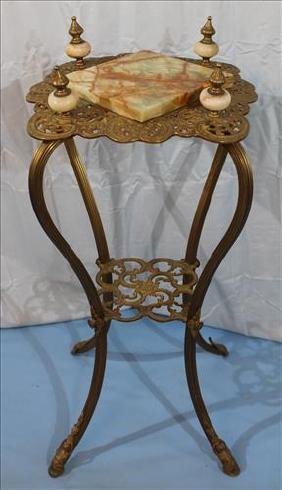 Victorian brass and alabaster plant stand, 32 in. T.