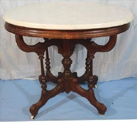 Oval rosewood grain Victorian marble top table