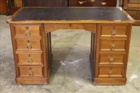 Burl walnut Victorian flat top desk