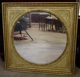 Victorian gold gilt hanging mirror, 40 in. Sq.