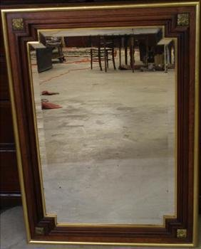 Walnut Victorian gold gilt mirror, 37 x 27