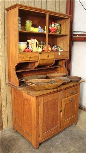 Primitive oak Hoosier cabinet, 73 in. T, 42 in. W.