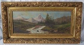 Oil on canvas of river scene in gold frame, 14 x 26