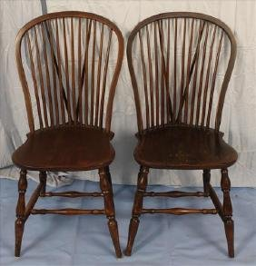 Pair of mahogany Windsor chairs, 37 in. T, 17 in. W.
