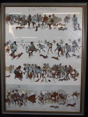 German framed print, signed, 30 x 23