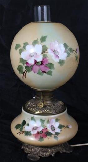 Hand painted table lamp with yellow and green shade