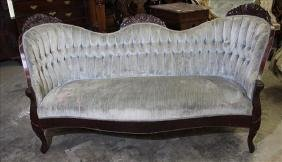 Rosewood triple back Victorian sofa with velvet