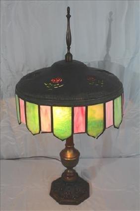 Leaded slag glass lamp, Art Deco with bronze base