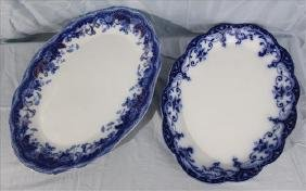 2 piece Old English Flow blue platters, 19.5 in. W.