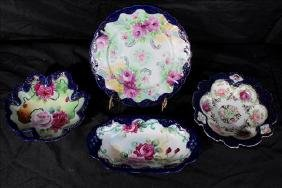 4 piece miscellaneous hand painted Nippon, cobalt