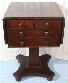 Mahogany Empire 4 drawer drop leaf work table