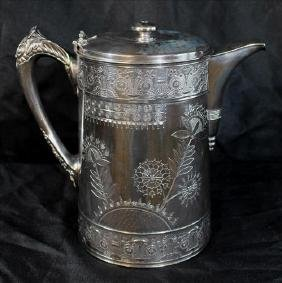 Victorian water pitcher, silver over copper, dated 1888