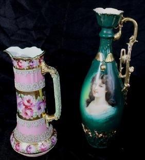 2 piece hand painted porcelain unsigned vase