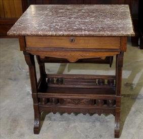 Walnut Victorian brown marble top sewing stand