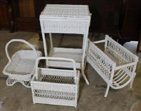 4 piece white wicker, 2 baskets, sewing stand and rack