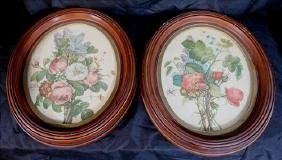 Pair walnut Victorian frames with signed floral prints