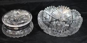 2 piece cut glass bowl and powder dish, 2 in. T, 7 in.