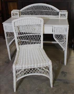 Antique 2 piece white wicker desk and chair