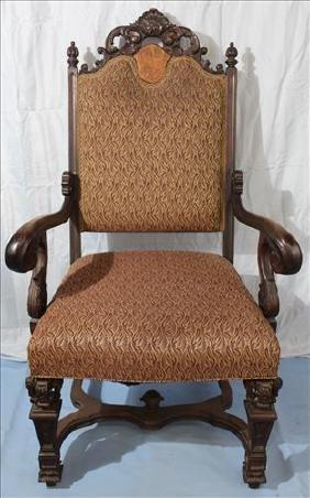 Walnut fireside Victorian chair, 49 in. T, 25 in. W.