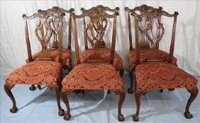 Set of 6 mahogany Chippendale dining chairs, all side