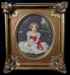Composition Victorian style old frame with print