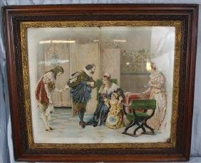 Old colorized Victorian print in period oak frame