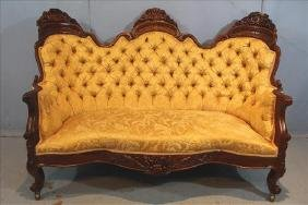 Rosewood J.H. Belter rococo settee in Henry Clay