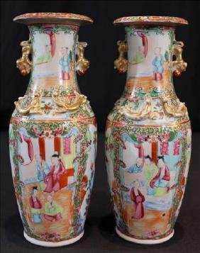 Pair Chinese porcelain vases in Rose Medallion style