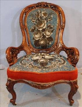 Rosewood rococo parlor chair with pierce carving