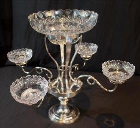Beautiful English silver-plate epergne with cut bowls