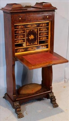 Unusual inlaid rosewood drop front desk