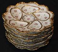 Set of 8 hand painted oyster plates with roses, 9.5 R.