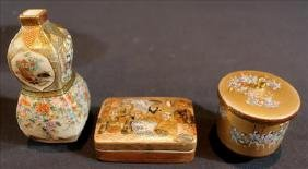 3 pieces small Chinese hand painted porcelain