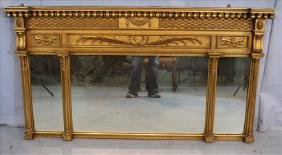 Empire gold gilt mantle mirror with 3 sections