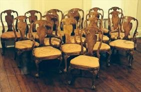 Set of Sixteen Chippendale Dining Chairs, 2 Arms, 14