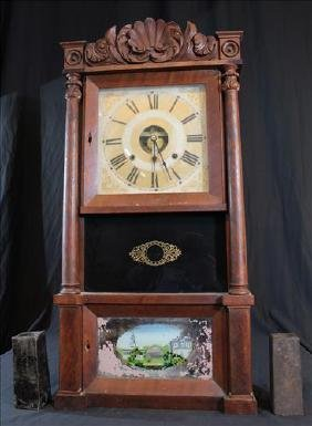 Mantle 8 day Pillar clock with reverse painted front