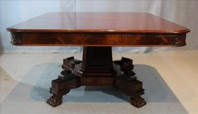 Mahogany Empire banquet dining table with 3 leaves
