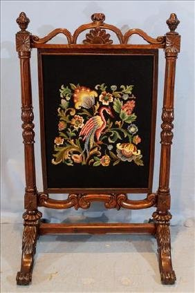 Rosewood Victorian fire screen with needlepoint insert