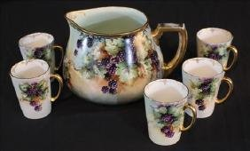 5 piece Limoges hand painted lemonade set