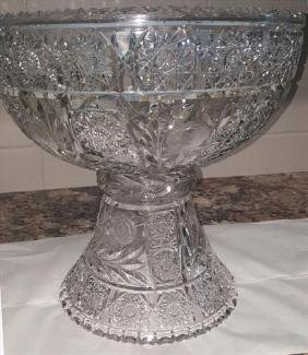 Large brilliant cut glass punch bowl on stand