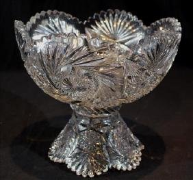 2 piece brilliant cut glass punch bowl, 11 in. T